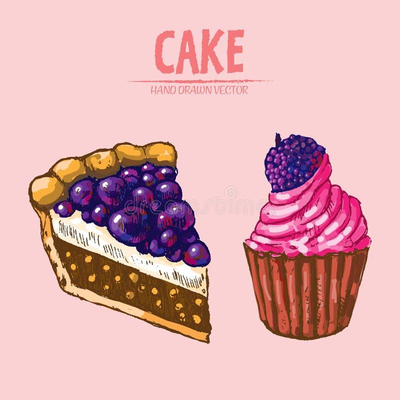 Digital vector detailed line art slice of cake stock illustration