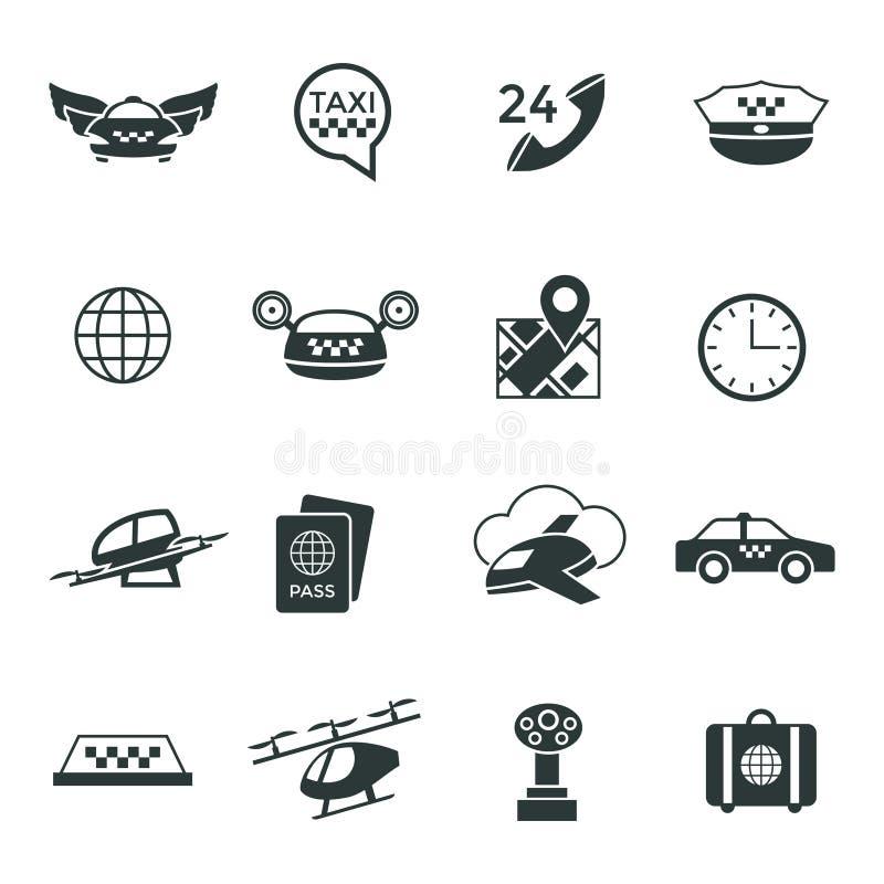 Digital vector flying taxi drone icon set vector illustration