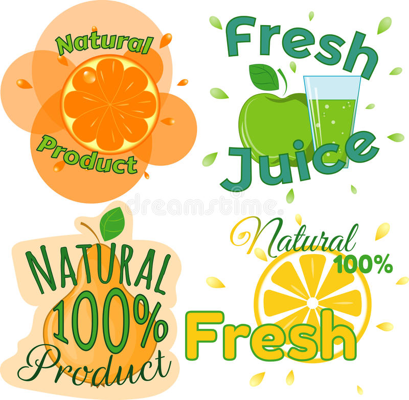 Digital vector fresh orange juice. Glass and green leafes. Pear, apple and limon. Flat style royalty free illustration