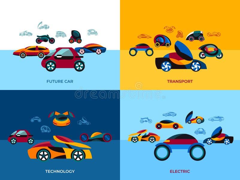 Digital vector future car simple icons vector illustration