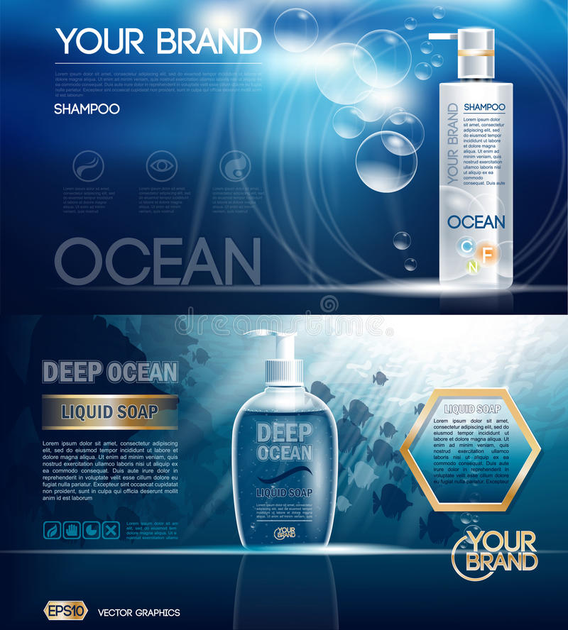Digital vector ocean blue shower gel. And soap mockup on water background with bubbles, oil skin pretector, your brand, ready for design. Realistic style stock illustration