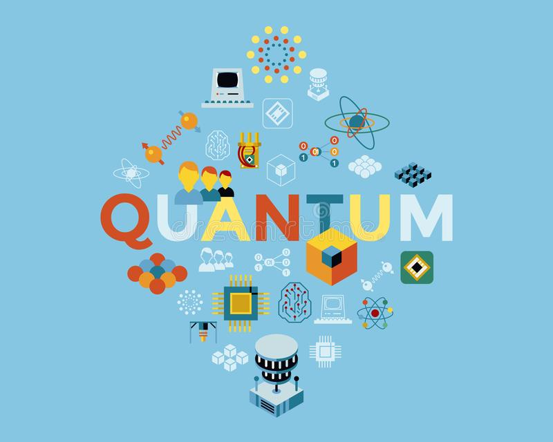 Digital vector quantum computing icon set royalty free illustration