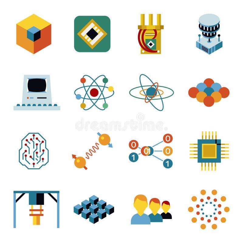 Digital vector quantum computing icon set stock illustration