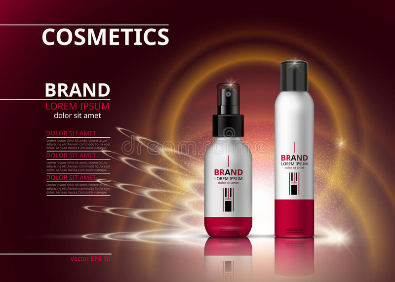Digital Vector Realistic Cosmetics bottles. Beauty products for hair treatment or body care. logo label design package. 3d set collection on sparkling effects vector illustration
