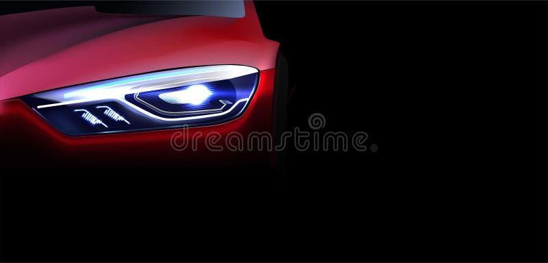 Digital vector red modern sport car mockup, ready for print or magazine design. Your brand, white lights on. Black background. vector illustration