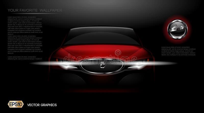 Digital vector red modern sport car mockup royalty free illustration
