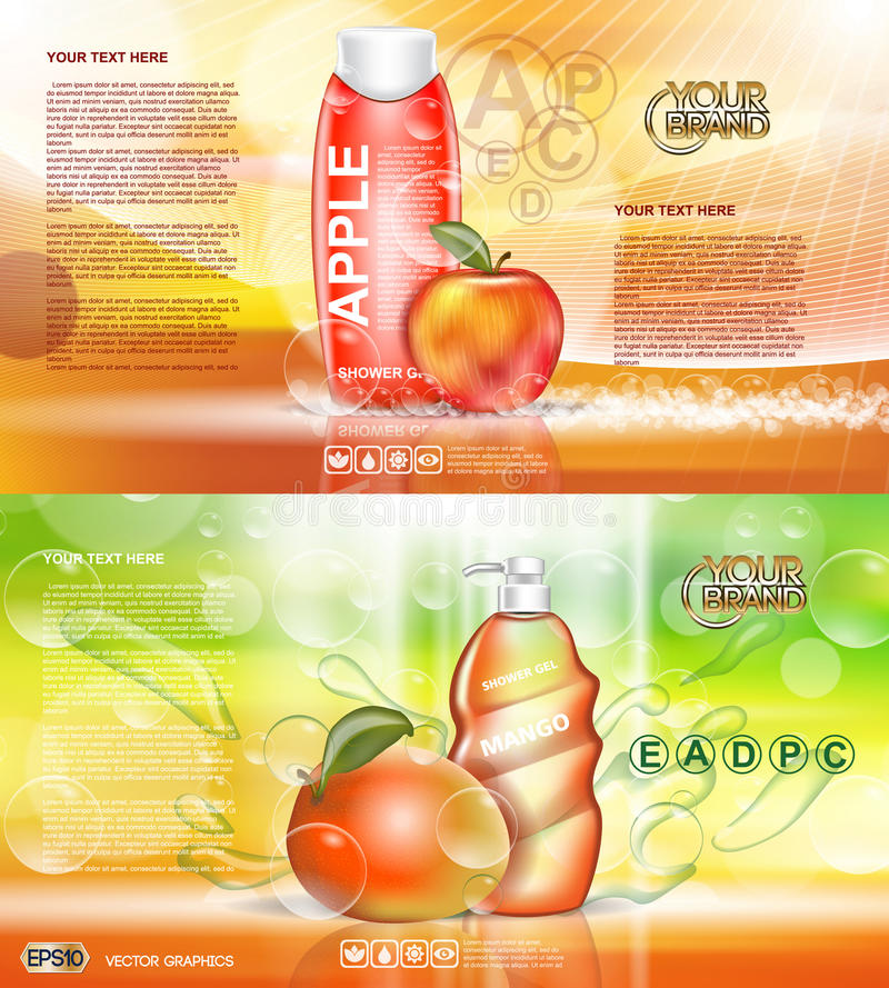 Digital vector red and orange shower gel. Cosmetic container mockup, your brand, ready for print ads design. Apple fruits and mango soap bubbles. Transparent royalty free illustration