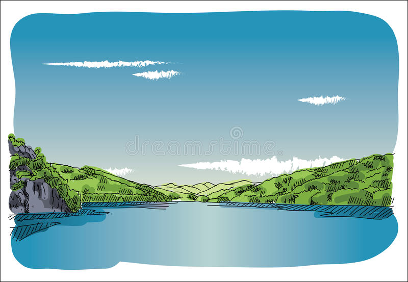 Digital vector sketch lake at transfagaras. Mountain with blue sky and white clouds royalty free illustration