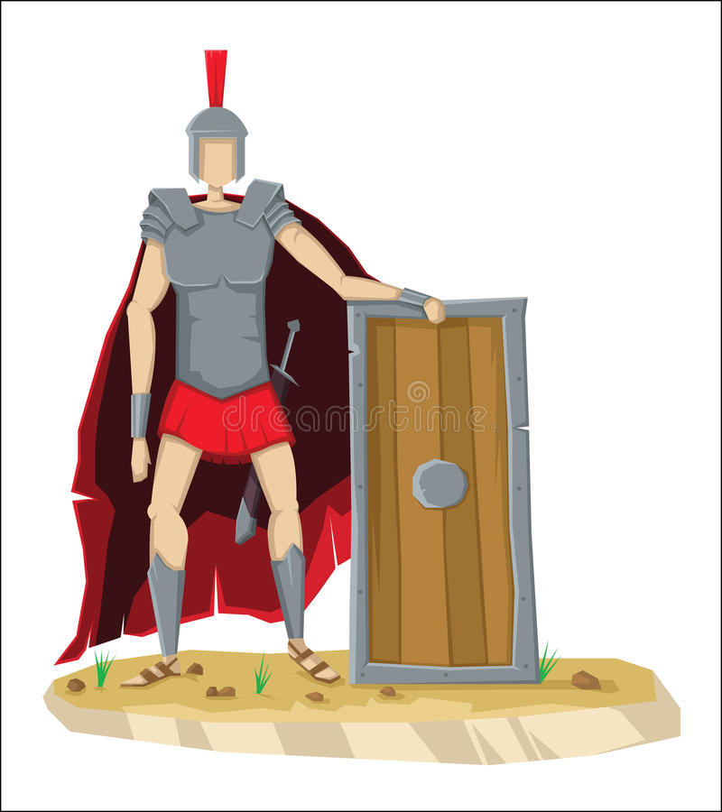 Digital vector tall roman legionnaire with armor vector illustration