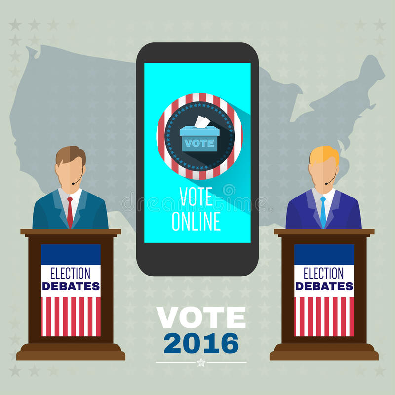 Digital vector usa election with vote online. Candidates debates tribune and mobile phone, flat style royalty free illustration