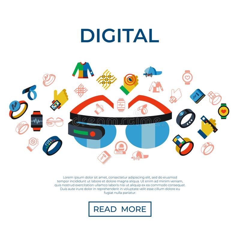 Digital vector wearable technology icons set stock illustration