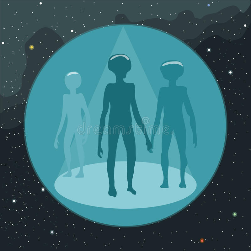 Digital vektor med att komma för ufo-främlingar stock illustrationer