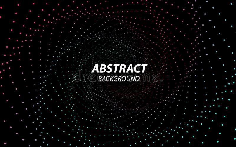 Digital-Vektorhintergrund Technologie Fractal mit Wellen-Linien und Punkten Futuristische Art Gro?e Datenstrom-Sichtbarmachung stock abbildung