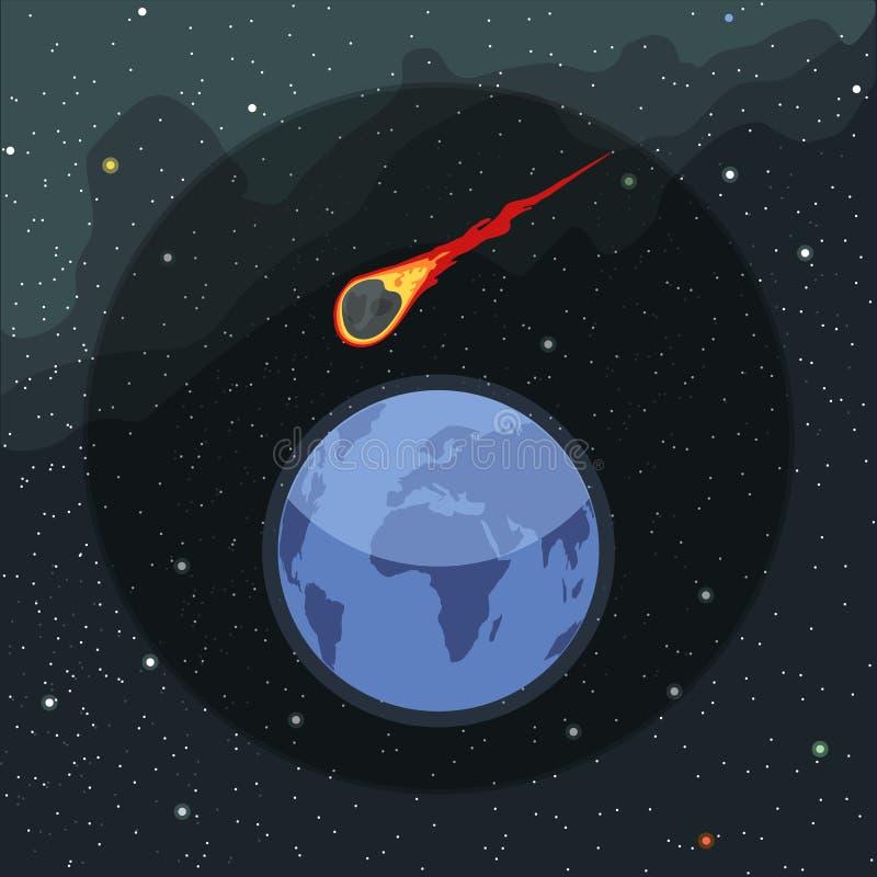 Digital-Vektorplaneten-Erdikone mit dem Fallen stock abbildung