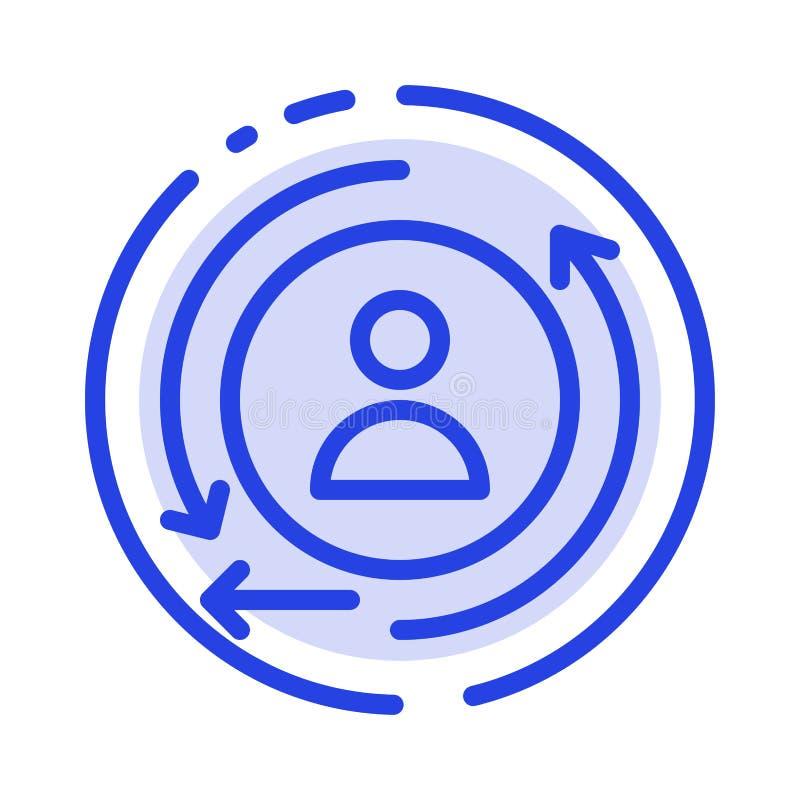 Digital, vermarktend, verkaufende Linie Ikone der blauen punktierten Linie lizenzfreie abbildung