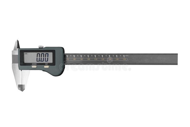 Digital Vernier Caliper elettronico, isolato su fondo bianco Compasso digitale elettronico isolato su priorità bassa bianca immagine stock