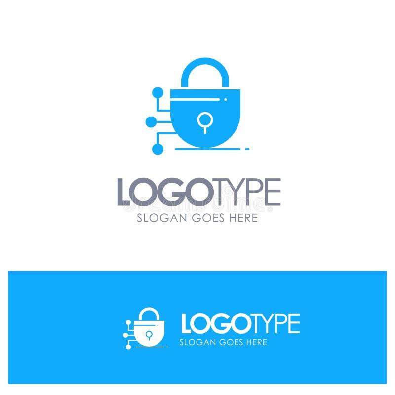 Digital, Verschluss, Technologie-blaues festes Logo mit Platz für Tagline lizenzfreie abbildung