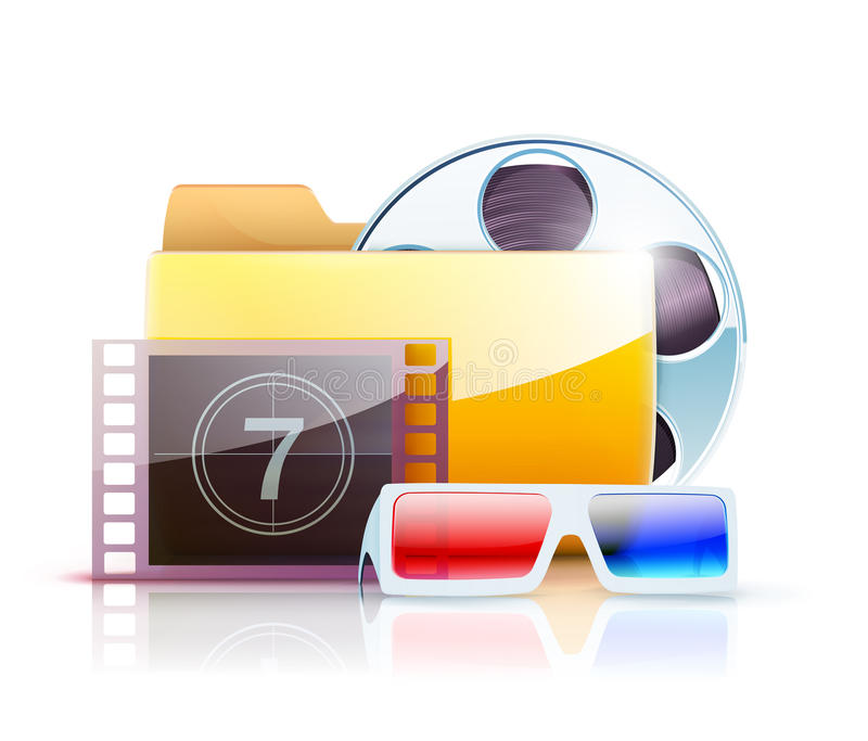 Digital video folder. Vector illustration of yellow interface computer digital video folder icon with large simple film reel and 3d glasses royalty free illustration