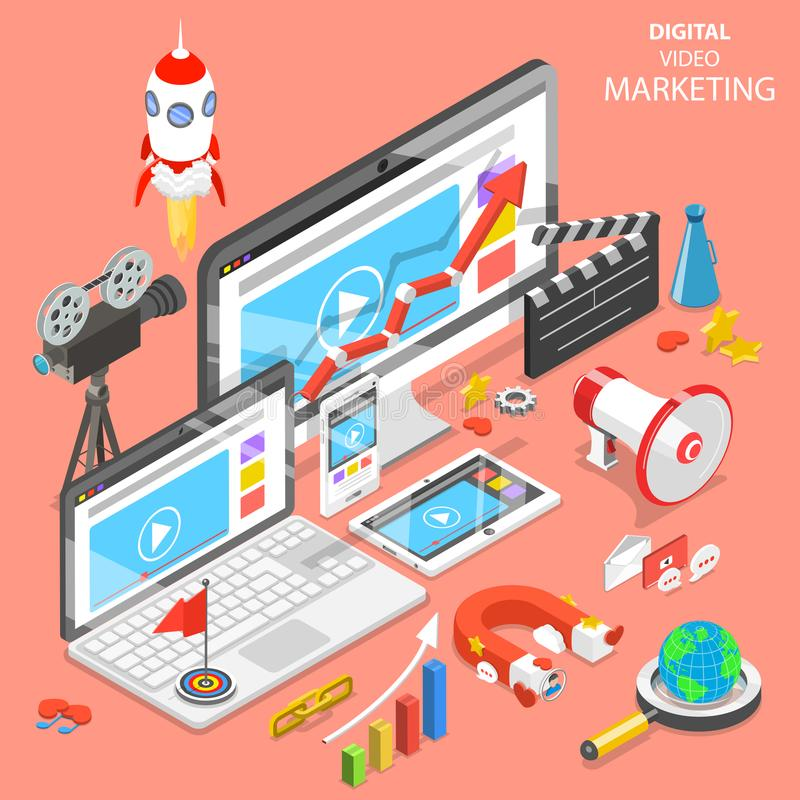 Digital video marketing flat isometric vector. vector illustration