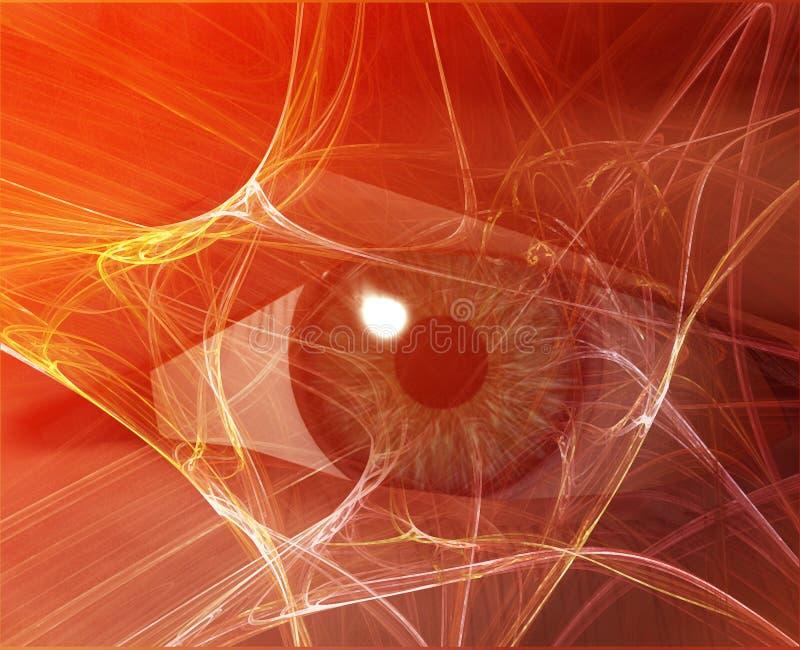 Digital vision. Eye viewing electronic information Orange background web vector illustration