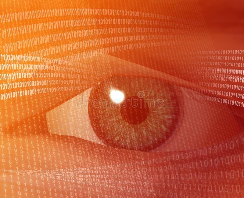 Digital vision. Eye viewing electronic information Orange background digits vector illustration