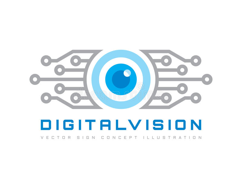 Digital vision - vector logo template concept illustration. Abstract human eye creative sign. Security technology and surveillance royalty free illustration