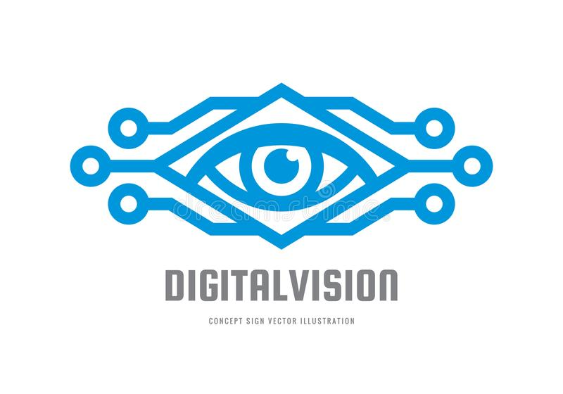 Digital-Vision - vector Logoschablonen-Konzeptillustration Abstraktes kreatives Zeichen des menschlichen Auges Sicherheitstechnik vektor abbildung