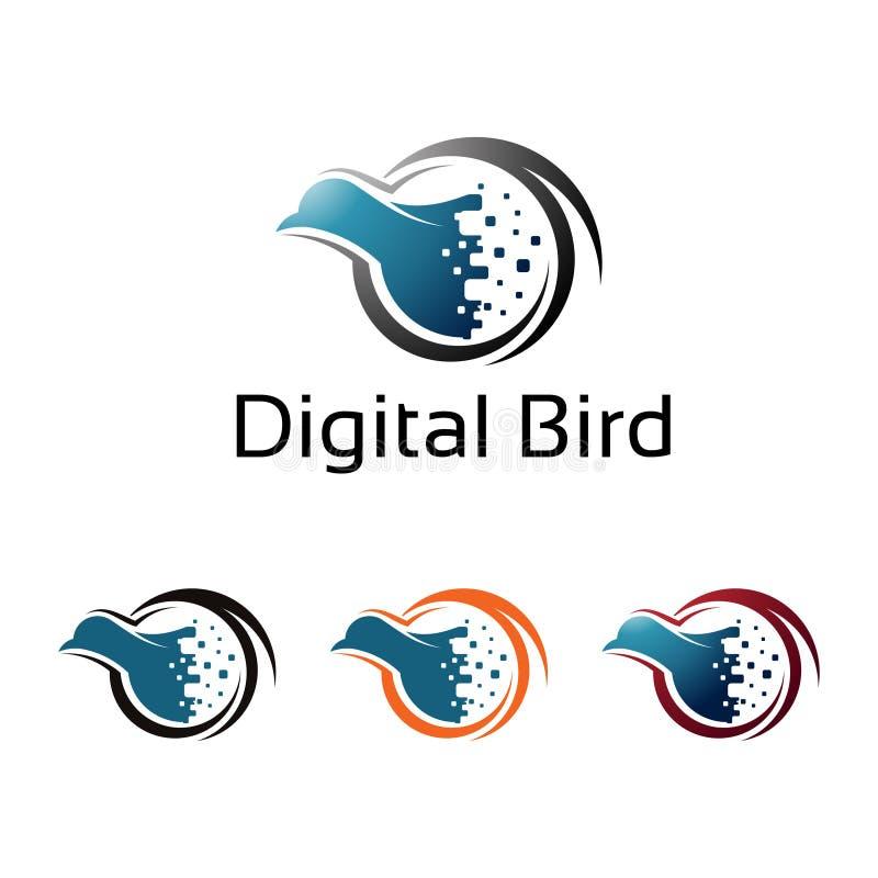 Digital-Vogel-Pixel-Internet-virtuelle Computer-Illustration vektor abbildung