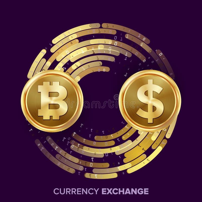 Digital-Währungs-Geldwechsel-Vektor Bitcoin, Dollar Fintech Blockchain Goldmünzen mit Digital-Strom vektor abbildung