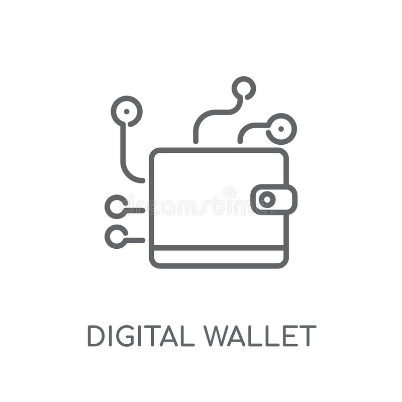 Digital wallet linear icon. Modern outline digital wallet logo c. Oncept on white background from Cryptocurrency economy and finance collection stock illustration