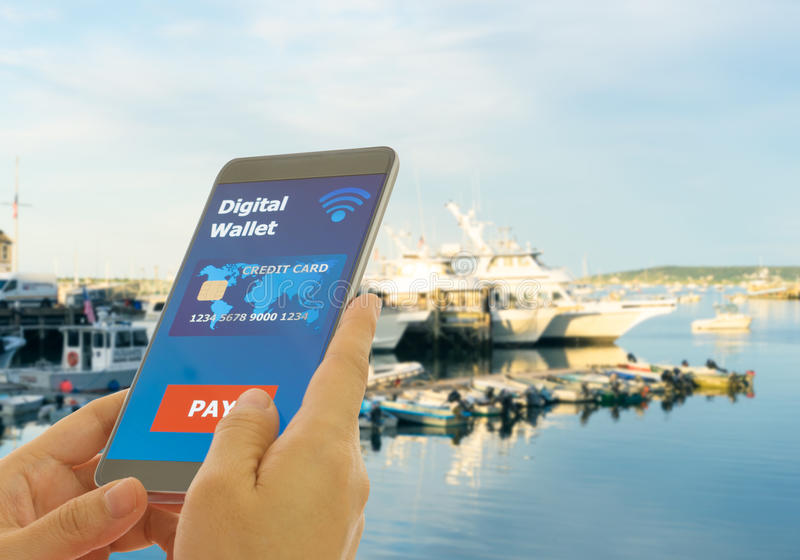 Digital wallet to pay royalty free stock images