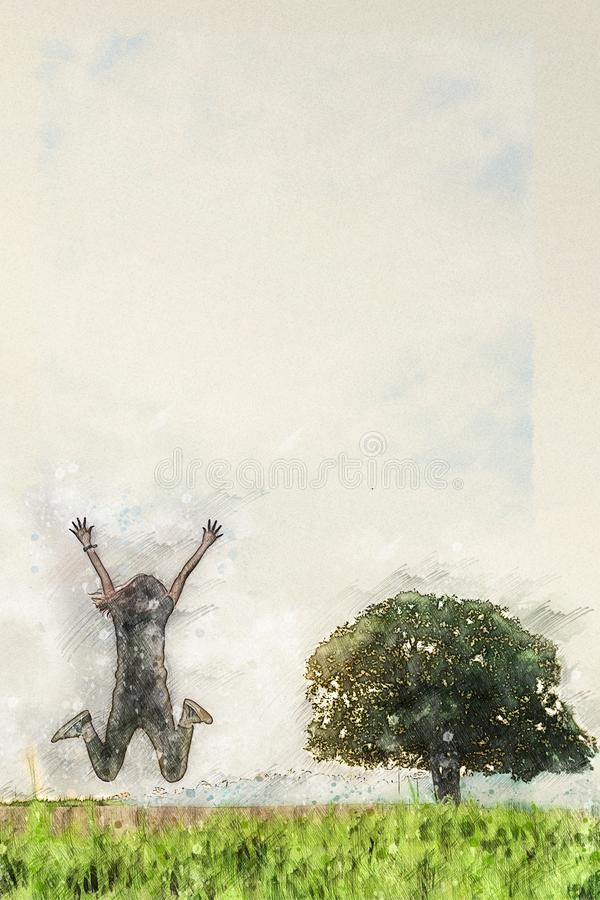 Free Digital Watercolor Drawing Of Person Jumping Over Grass Field With Stand Alone Tree Stock Image - 148192481