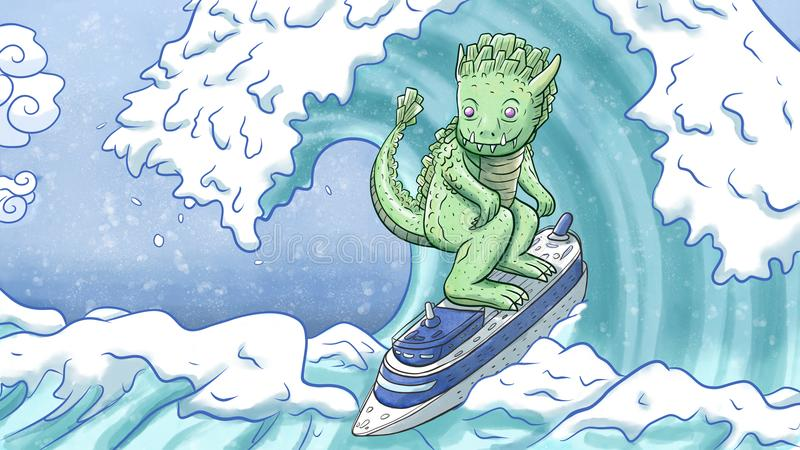 Big monster surfing on a ship. Digital watercolor illustration of a big monster surfing using a ship as a surfboard stock illustration