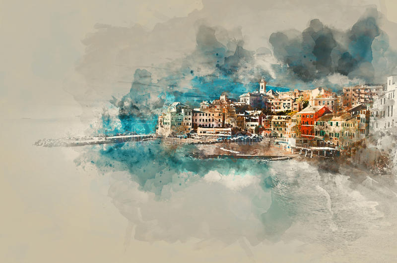 Digital watercolor painting of Bogliasco. Italy. Digital watercolor painting of Bogliasco. Bogliasco is ancient fishing village in Italy. Province of Genoa stock illustration