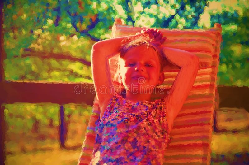 Digital watercolor painting of cute little girl. Girl sitting on garden lounge on verandah stock photography