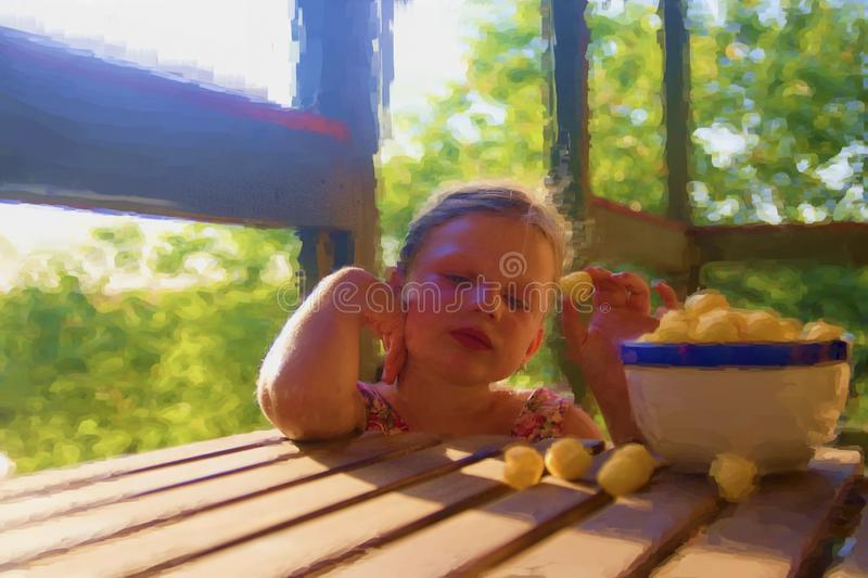Digital watercolor painting of cute little girl. Girl sitting on verandah royalty free illustration