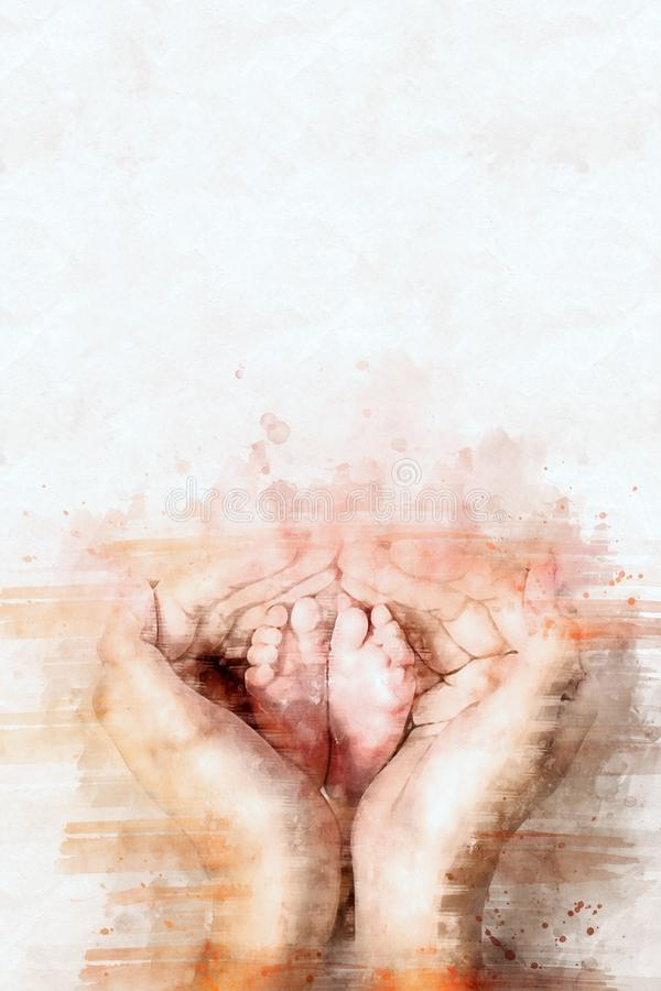 Digital watercolor painting of hand holding baby feet stock image