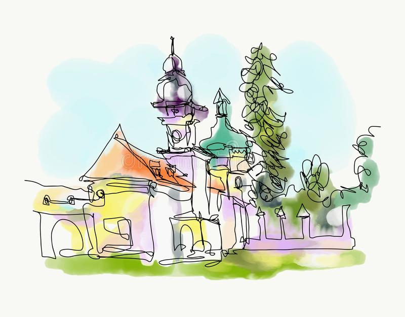 Digital watercolor painting of little church in western Ukraine royalty free illustration