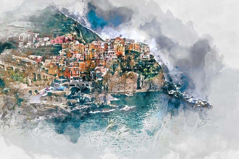 Digital watercolor painting of Manarola. Italy. Digital watercolor painting of Manarola. Small coastal village in the Italian region of Liguria, Cinque Terre stock illustration