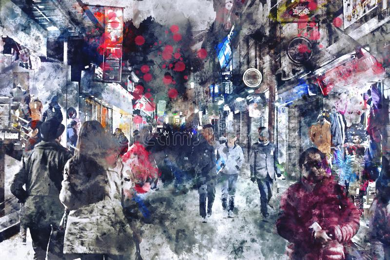 Digital watercolor painting of street in town with walking people in dark tone. Watercolor texture on image royalty free stock photos