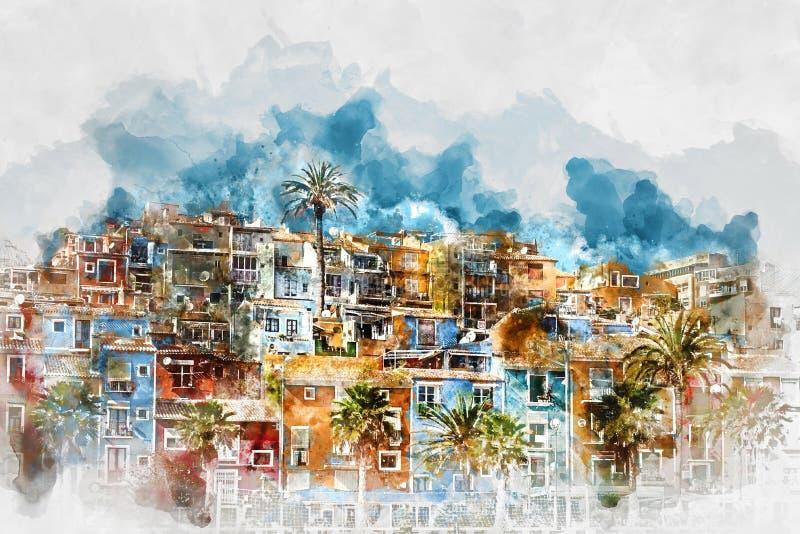 Digital watercolor painting of Villajoyosa skyline. Spain. Digital watercolor painting of Villajoyosa town, Costa Blanca. Province of Alicante, Valencian vector illustration