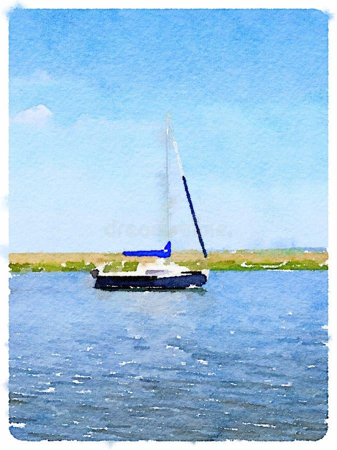 Digital watercolor of a sailboat at anchor stock illustration