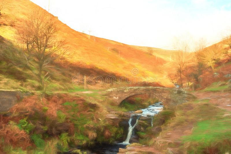 Digital watercolour of an autumnal waterfall and stone packhorse bridge at Three Shires Head in the Peak District. stock illustration