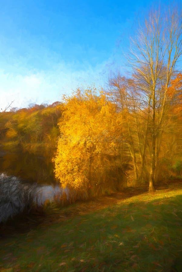 Digital-Watercolour von herbstlichen Farben bei tiefem Hayes Country Pa stock abbildung