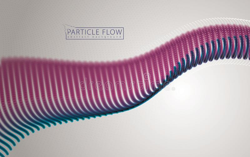 Digital wave of flowing particles in motion. Vector abstract light background. Mesh of glowing dots. vector illustration