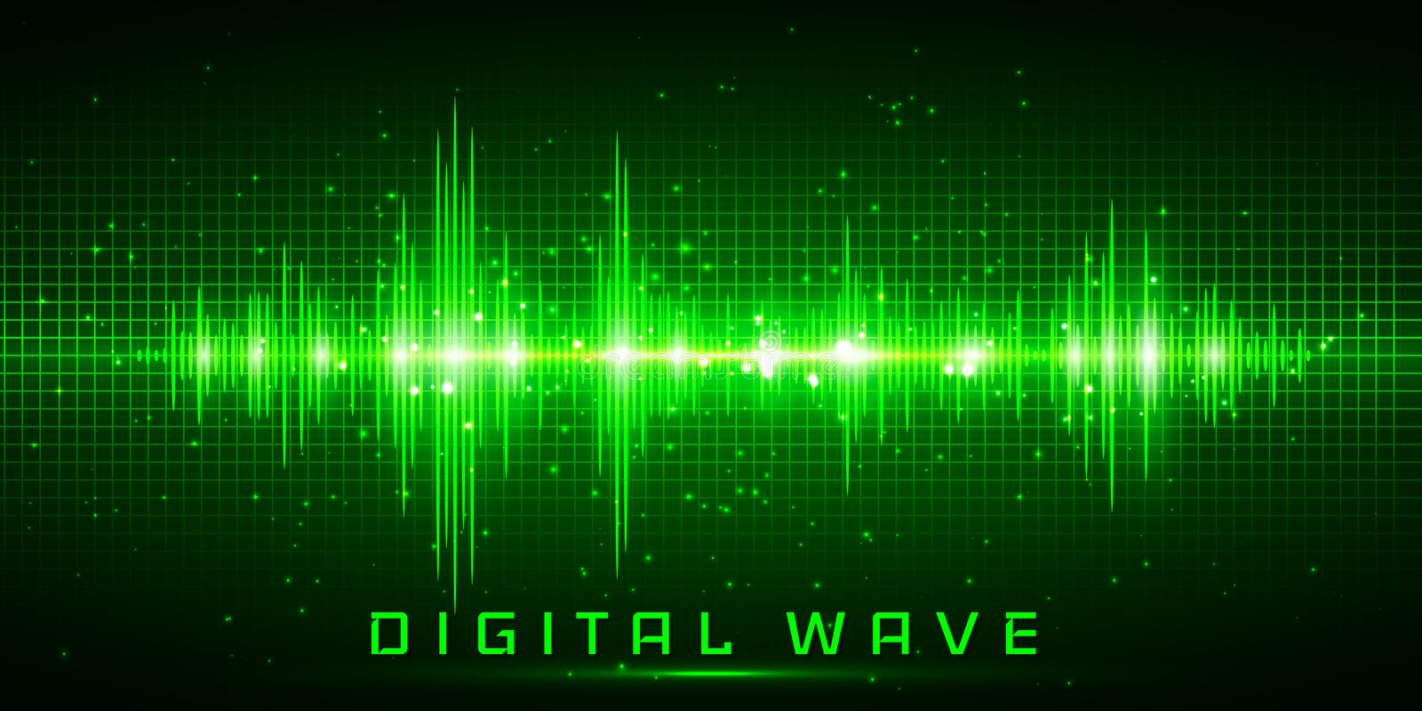 Digital wave, Sound waves oscillating glow light, Abstract technology background - Vector.  vector illustration