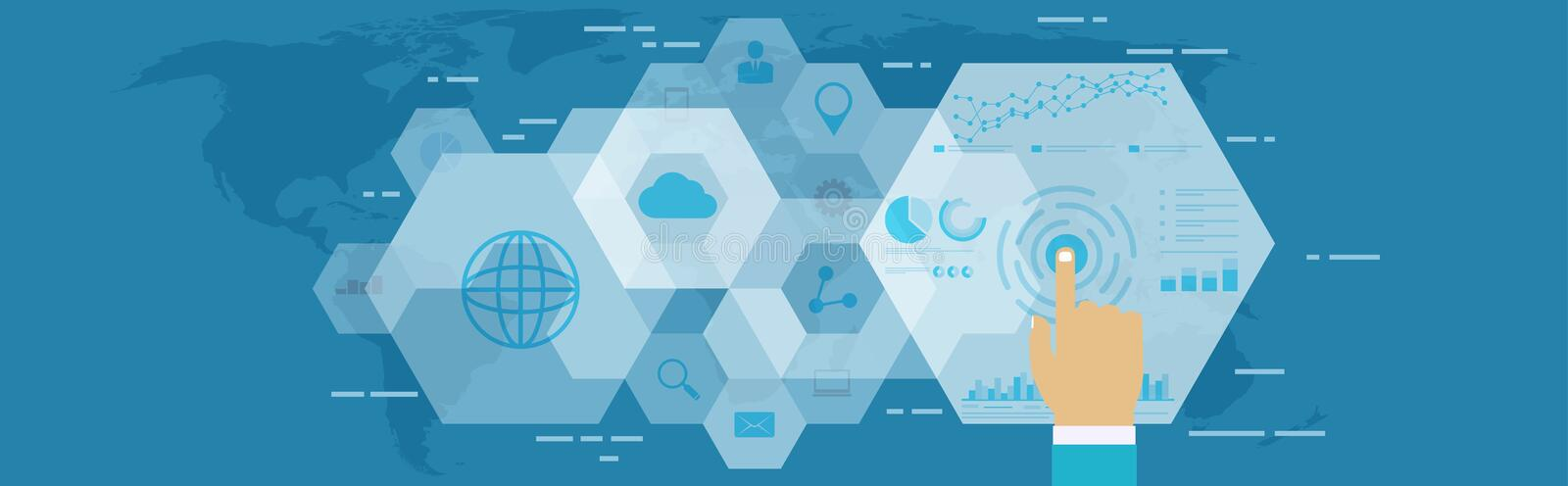 Digital web analytics. Business technology in digital space. Digital web analytics. Business technology in digital space, SEO optimization, marketing concept royalty free illustration