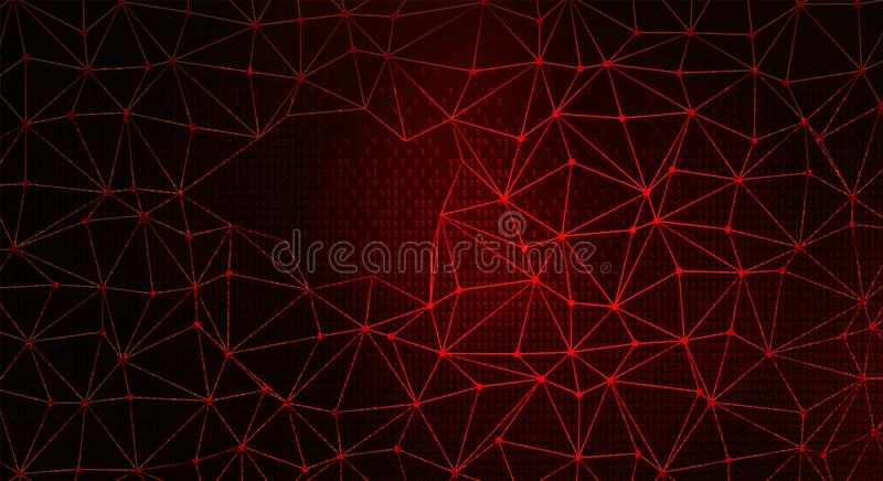 Digital Web on Dark Red BG. Data Breach. Digital Web on Dark Red Backgrund. Data Breach Concept stock illustration