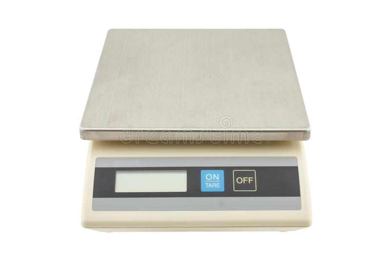 Digital weights scales,electronic scales isolated on white background. Small digital weights scales,electronic scales isolated on white background stock photo