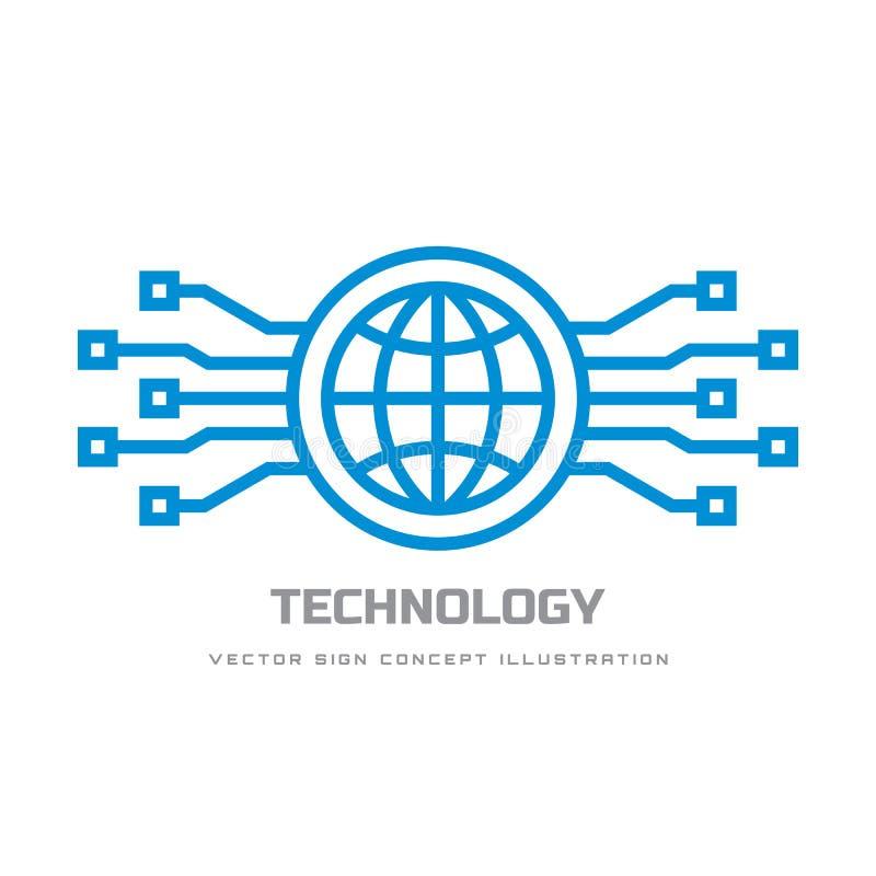 Digital-Welt - vector Geschäftslogoschablonen-Konzeptillustration Abstraktes Zeichen der Kugel und elektronisches Netz Globale Te stock abbildung